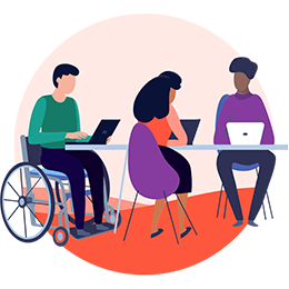 Illustration of three individuals sitting at a table, one in a wheelchair, working on laptops.